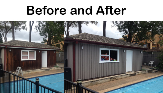 Before and After Exterior Painting Pool House