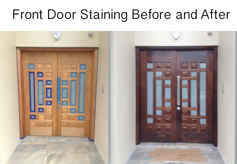 Before and After re Oiling Timber Door
