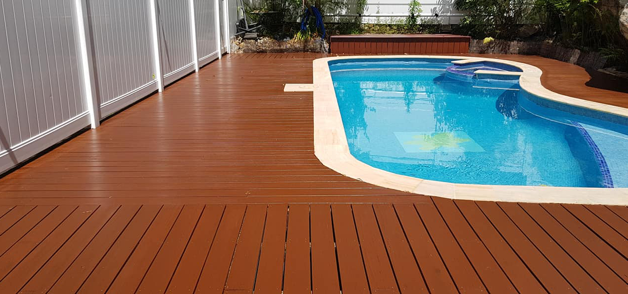 Oiled Deck around Pool