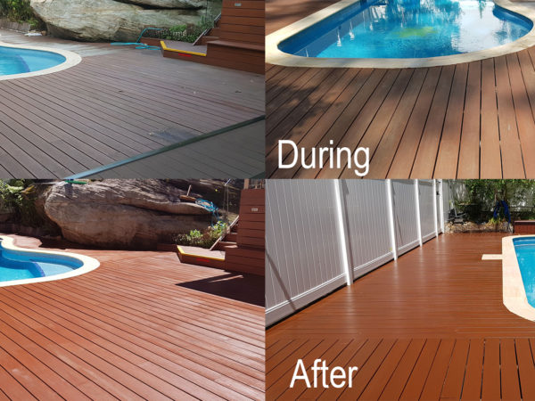 Staining of Timber Deck by Pool