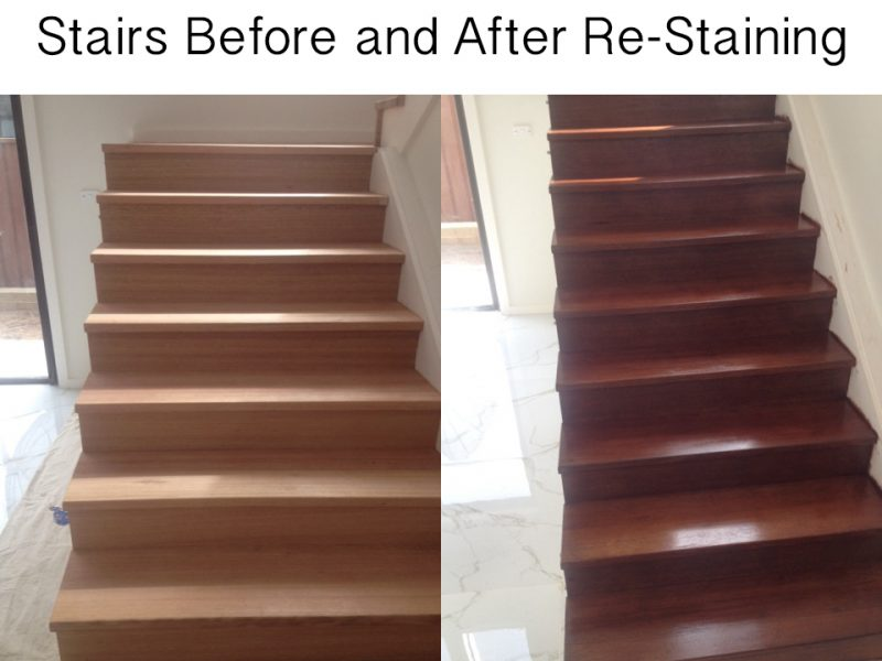Before and After Oiling Stairs