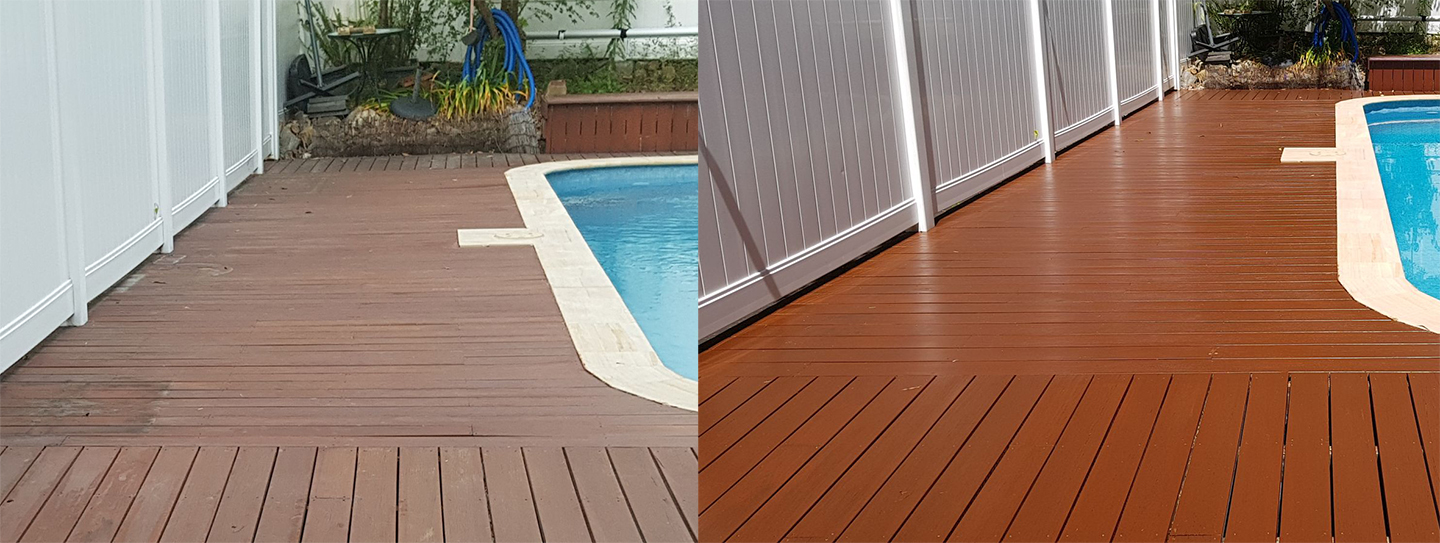 Before and After ReStaining of Deck by Pool
