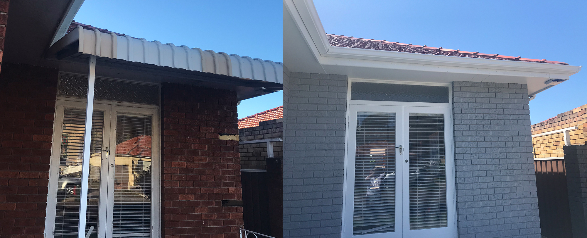 Red Brick House Painting of Bricks Before and After
