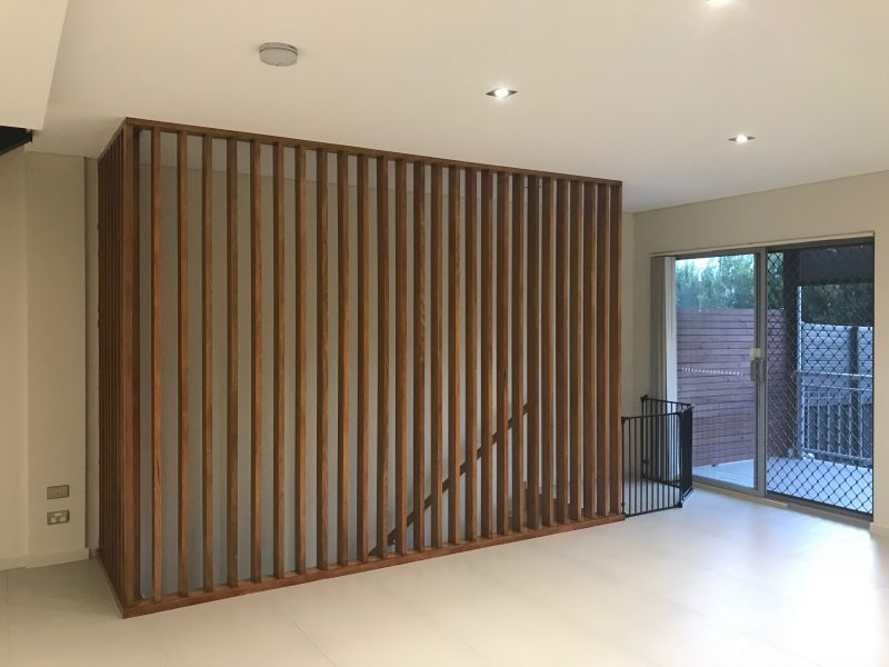 Hardwood Timber Screen to Protect Stairs